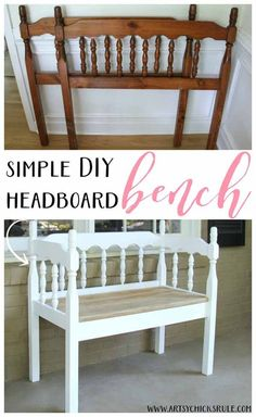 Best of Before & After Furniture Makeovers: Creative DIY Ways to Repurpose Your Old Furniture DIY Furniture Makeovers: DIY Headboard Bench. Diy Furniture Chair, Refurbished Furniture, Repurposed Furniture, Furniture Projects, Furniture Makeover, Home Furniture, Furniture Websites, Handmade Furniture, Furniture Plans