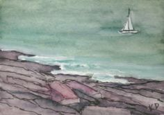 Maine Seascape Painting Watercolor with pen & by kathleendaughan, $12.00