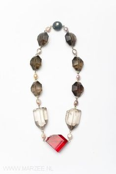 Philip Sajet - The Ruby, 2009 necklace, smokey quartz, pearls, gold, glass, niello on silver - L 605 mm, ø 210 x 25 mm