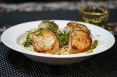 Scallops & Asparagus with Capelli d'angelo & Minneola Tangelo Butter Cream Sauce Recipe Main Dishes with extra-virgin olive oil, juice, honeybells, dry white wine, crushed red pepper, fresh basil, heavy whipping cream, butter, sea scallops, angel hair, asparagus, ground pepper, salt