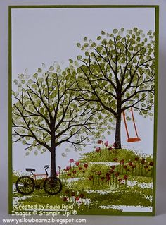 Yellowbear Stampin: Sheltering Tree and Big Day - cards from February card class