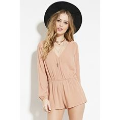 Forever 21 Women's  Crinkled Surplice Romper ($16) ❤ liked on Polyvore featuring jumpsuits, rompers, long sleeve romper, playsuit romper, forever 21 rompers, forever 21 and surplice romper