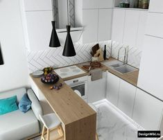 U-förmige Küche: 6 Lösungen und 126 Fotos [+ c окном и барной стойкой] - Small Apartment Kitchen, Small Apartment Design, Living Room Kitchen, Apartment Interior, Home Decor Kitchen, Home Kitchens, Condo Living, Flat Interior, Interior Design Kitchen