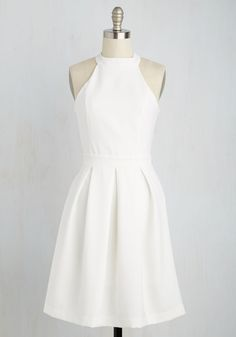 Wedding rehearsal dress: Joy to the Twirl Dress. The way you spin in this white dress has people thinking youre dancing on a cloud. Hoco Dresses, Trendy Dresses, Simple Dresses, Homecoming Dresses, Cute Dresses, Beautiful Dresses, Floral Dresses, Little White Dresses, White Dress Casual
