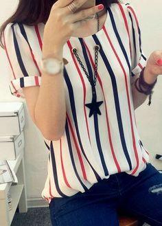 Women Blouses Shirts Short Sleeve Summer 2017 Fashion Korean Style Chiffon Striped Shirt Ladies Tops Plus Size Female Clothing Fashion 2017, Look Fashion, Korean Fashion, Fashion Dresses, Fashion Clothes, Blouse Styles, Stripe Print, Pulls, Blouses For Women