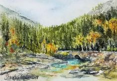 "Riverbank Respite Watercolor on 300 lb. paper.  5"" x 7"" unframed.– Christy Sheeler Art, Montana watercolor artist inspired by nature.  This artwork based on a view from Glacier National Park where the water is so icy and crystal clear.  Summers spent adventuring and hiking are best remembered with artwork like this!  Pin now and shop later for new artworks to add to your home decor!"