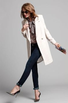 #fashion #woman #white #coat #denim #jeans #silver  #pump #bow #shirt