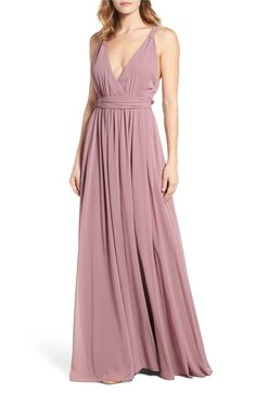 Main Image - Ceremony by Joanna August Knot Strap Chiffon Wrap Gown