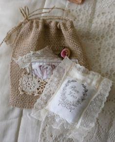 A pretty lavender sachet with old lace to add to the French burlap bag. Burlap Projects, Burlap Crafts, Fabric Crafts, Fabric Art, Sewing Crafts, Sewing Projects, Lavender Bags, Lavender Sachets, Crafts To Make