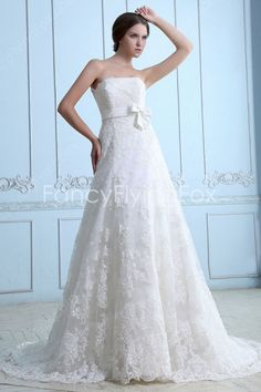 Vintage And Retro Strapless A-line Floor Length Ivory Lace Wedding Dresses With Sash   $268.00
