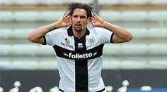 Amauri durante la partita Parma Torino di domenica 10 marzo, autore della tripletta che ha permesso alla squadra di battere il Toro in casa