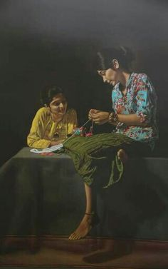 Painting by Shashikant Dhotre  , India. Colour pencils and black paper are used as a medium.