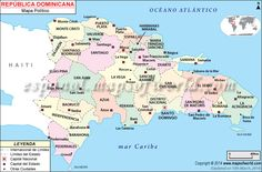 Political map of Dominican Republic illustrates the surrounding countries with international borders, 31 provinces boundaries with their capitals and the national capital. Samana, Dominican Republic Map, Greater Antilles, Learn Another Language, North America Map, Las Vegas, Us Virgin Islands, St Barts, Study Materials
