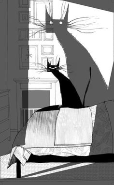"cafemelifluo: "" By Dave McKean "" - Illustration: Comic, pen and ink - Katzen World Art And Illustration, Cat Illustrations, Dave Mckean, Art Graphique, Oeuvre D'art, Crazy Cats, Cat Art, Illustrators, Graphic Art"
