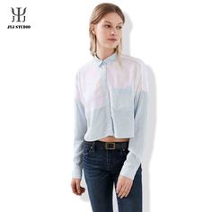 Aliexpress.com : Buy Summer Casual Loose Plus Size Shirt For Women Joint Color Polyester Long Sleeve Lapel Single Breasted With Pocket Blouses from Reliable shirt plus size suppliers on JYJ STUDIO Plus Size Shirts, Cheap Shirts, Jyj, Single Breasted, Rain Jacket, Windbreaker, Blouses, Pocket, Studio