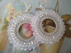 Beadwork Hoop Earrings - CRYSTAL GODDESS Seed Bead Hoop Earrings