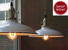 Love these enamel barn lights!  A must have!
