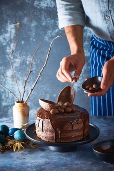 Chocolate Easter Cake - The White Ramekins Types Of Chocolate, Love Chocolate, Melting Chocolate, Chocolate Easter Cake, Chocolate Icing, Round Cake Pans, Round Cakes, How To Stack Cakes, Cake Writing