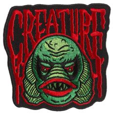 Horror fans, our Creature Patch was created just for you! Featuring one of your favorite monsters, this embroidered patch will look vibrant on your accessory of choice. Iron-on backing makes this gilled guy easy to attach and wear all year long! Pin And Patches, Iron On Patches, Sourpuss Clothing, Skate Art, Mini Canvas Art, Back Art, Classic Monsters, Halloween Cat, Retro Halloween