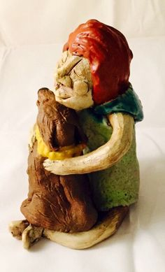 ceramic sculpture a girl and her dog by MuddyRiverClay on Etsy