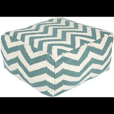 24 Teal Blue and Ivory Chevron Wool Rectangular Pouf Ottoman ** Click image to review more details.  This link participates in Amazon Service LLC Associates Program, a program designed to let participant earn advertising fees by advertising and linking to Amazon.com.
