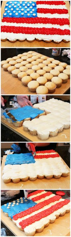 Celebrate with a delicious flag cake made of cupcakes!