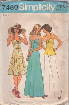 Simplicity 7480 Vintage 70's Sewing Pattern SIZZLING HOT Disco Halter Top Sundress, Top, Dress, Maxi Gown with Tied Peekaboo Bra Front, Wide Midriff, Peplum, Bare Back #MOMSPatterns