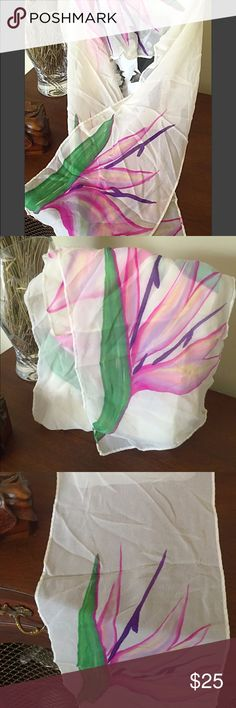 Vintage Birds of Paradise silk scarf Light as air and vibrant! Beautiful vintage silk with no notes flaws! Excellent vintage condition. Wear as a head scarf, around your neck, or tied to the handle of a tote bag! So versatile! Perfect to pack for an island getaway or wear on an average day out to add some color to an outfit Vintage Accessories Scarves & Wraps