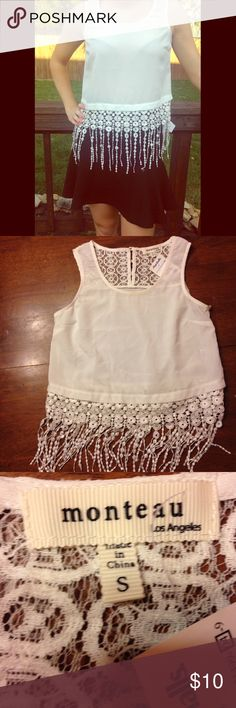 🆕Monteau fringe top NWT White lace and fringe top by Monteau. Size small 100% polyester. Model is an XS size 2 typically. Zara skirt sold separately in another listing. Get both for 20% off your bundle. 💝💝💝Bundle and save!!! Mix and match items from Mykaela's closet @mdhboutique and from Angel's closet @mokshaangel and still get 20% off 2 items Monteau Tops Blouses