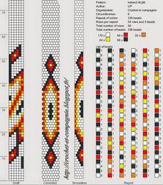Des bracelets d'inspiration ethnique   Le bleu, que j'ai fait en suivant un schéma trouvé sur le net.               Mais il ne me convenait ...