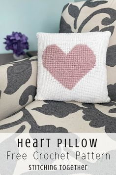 You& love this soft and fluffy crochet heart pillow perfect to Valentines day or every day decor. The free pattern includes instructions on how to crochet a heart pillow. Crochet Pillow Patterns Free, Crochet Stitches, Free Crochet, Free Pattern, Afghan Patterns, Square Patterns, Crochet Granny, Crochet Home, Crochet Crafts