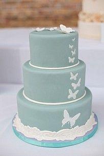 Butterflies white on blue wedding cake, simple elegant