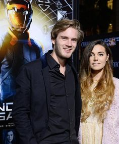 Felix and Marzia (aka Pewdiepie and cutiepiemarzia) on Youtube at a premiere of Ender's Game. They are so cute together!