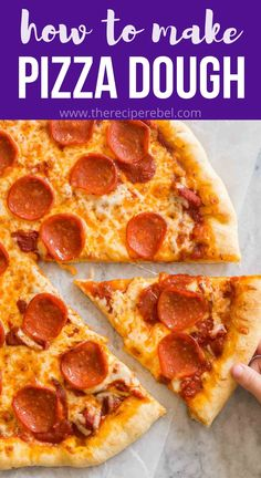 This Quick and Easy Pizza Dough requires just 10 minutes of work! Top with your favorite toppings, bake and you can have homemade pizza in 30 minutes! #pizza #bread #dough #recipe #dinner | pizza dough recipe | yeast pizza dough | easy pizza recipe Making Pizza Dough, Wheat Pizza Dough, Easy Pizza Dough, Garlic Recipes, Pizza Recipes, Appetizer Recipes, Sandwich Recipes, Bread Recipes, Cooking Recipes