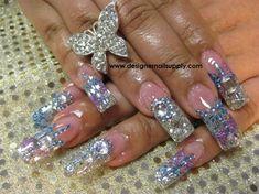Acrylic Bling Nails by DesignerNails - Nail Art Gallery nailartgallery.nailsmag.com by Nails Magazine www.nailsmag.com #nailart