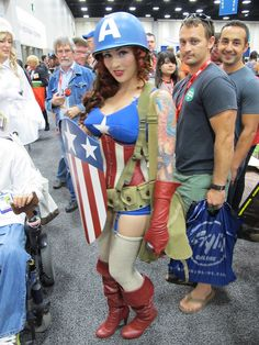 This girl was amazing, as a retro-style Captain America pinup. She told me this was her first cosplay ever, too. Very impressive. San Diego Comic-Con 2011 by CAHarris, via Flickr