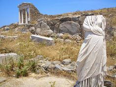 Delos Island ruins, off the coast of Mykonos Island, Greece.