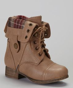 Miniature fashion mavens will be strutting the playground runway in this truly trendy boot! Featuring a lovely lace-up design in a fold-down style, this plaid-accented pair is sure to wow the crowd.