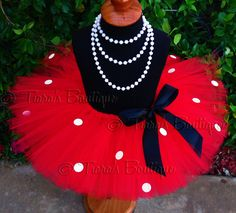 "Girls Tutu - Red Minnie Tutu - Red Tutu w/ White Spots - 8"" Sewn Tutu - sizes Newborn to 5T - Great for Valentine's Day. $37.00, via Etsy."
