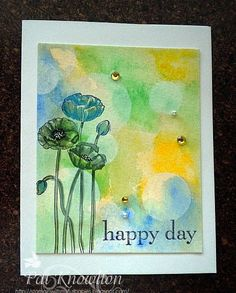 Pleasant Poppies: SU!, white craft for circles, markers for flowers, bokeh, Stampin' with my Furbabies: