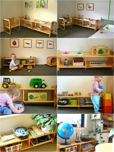 Low Montessori Shelves (how we montessori) Playroom Montessori, Montessori Toddler, Montessori Activities, Infant Activities, Boy Room, Kids Room, Infant Classroom, Home Daycare, Daycare Rooms