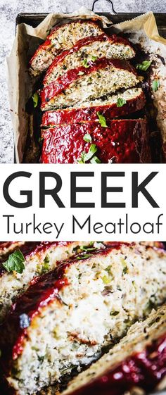 Greek Turkey Zucchini Meatloaf is a flavorful spin on the classic comfort food. Made with ground turkey, oats (use certified gluten free if necessary), stuffed with feta cheese and juicy from all the shredded zucchini - this healthy main dish will definitely become a new staple in your dinner rotation. | #recipe #easyrecipes #healthy #healthyrecipes #healthyfood #healthyliving #cleaneating #glutenfree #summer #turkey #turkeyrecipes #maindish #dinner #easydinner #cheese #greek #zucchini
