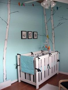 www.mobauk.com Your Moba in either Linen, Dove Grey, Cornflower or Apple would create a contemporary touch to a sky blue nursery with a simple nature theme.