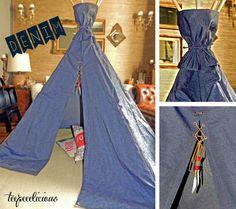 handmade denim teepee with leather details Denim Fabric, Unisex, Handmade, Leather, Hand Made, Handarbeit