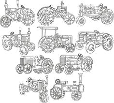Advanced Embroidery Designs - Tractor Redwork Set