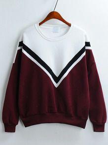 Colour-block V Pattern Loose Sweatshirt