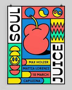 Daniél Niederkofler's talks through his dancing designs for Italian club night Soul Juice Game Design, 90s Design, Graphisches Design, Layout Design, Print Design, Funky Design, Graphic Design Branding, Graphic Design Posters, Graphic Design Illustration