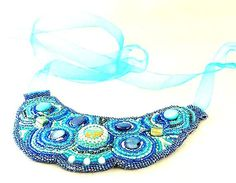 Pantone Spring 2014 Dazzling Blue on Blue Beaded by emptynestegg. Fabulous color.