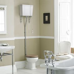 We love high level toilets. This one has beautiful ornate brackets to add extra detailing to your traditional bathroom.
