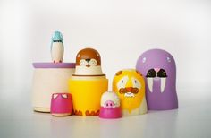 "6"" nesting dolls // five animals"